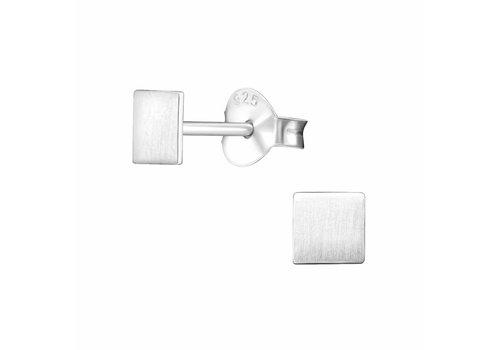 Fine square stud earrings - 925 sterling silver - matt