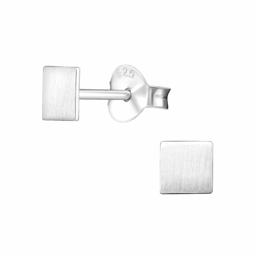 Feine quadratische Ohrstecker- 925er Sterling Silber - matt-1