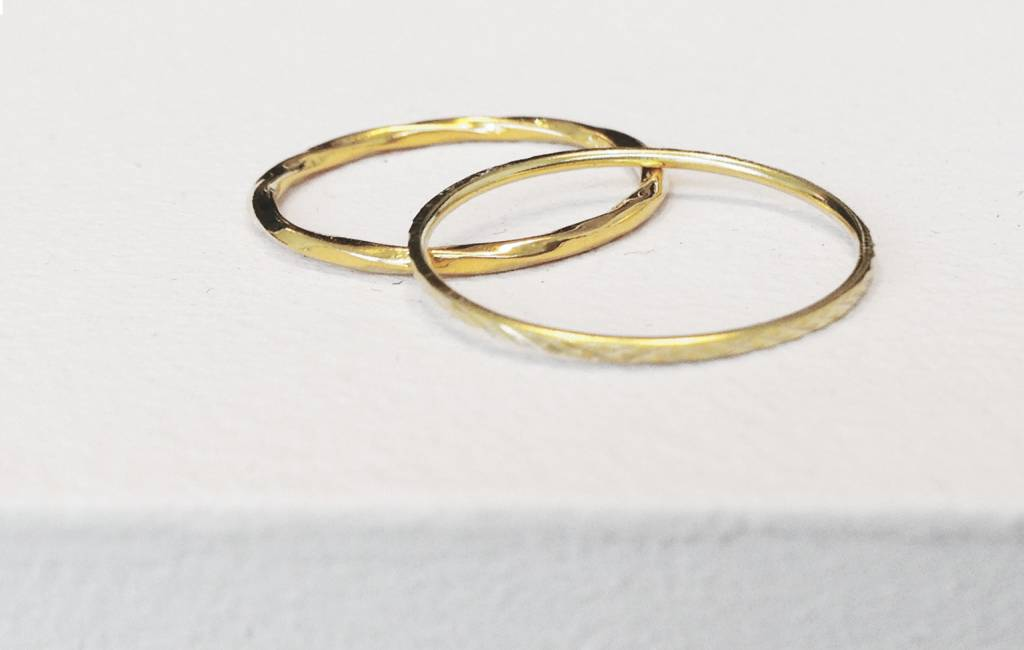 Gold ring with facet cut - 925 sterling silver-3