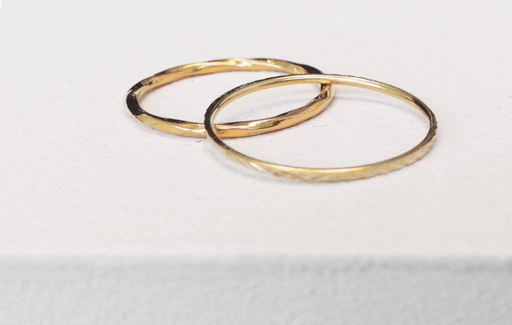 Narrow ring - entwined - 925 sterling silver - gold-3