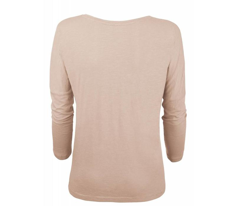 Basic shirt 3/4 sleeve in organic cotton - Nude
