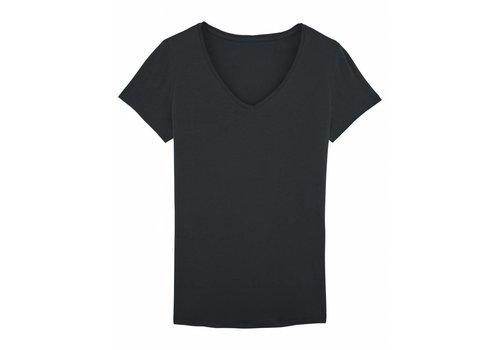 Basic T-Shirt V-Ausschnitt aus Bio-Baumwolle - Schwarz