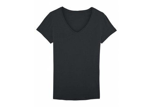 Basic T-shirt V-neck from organic cotton black