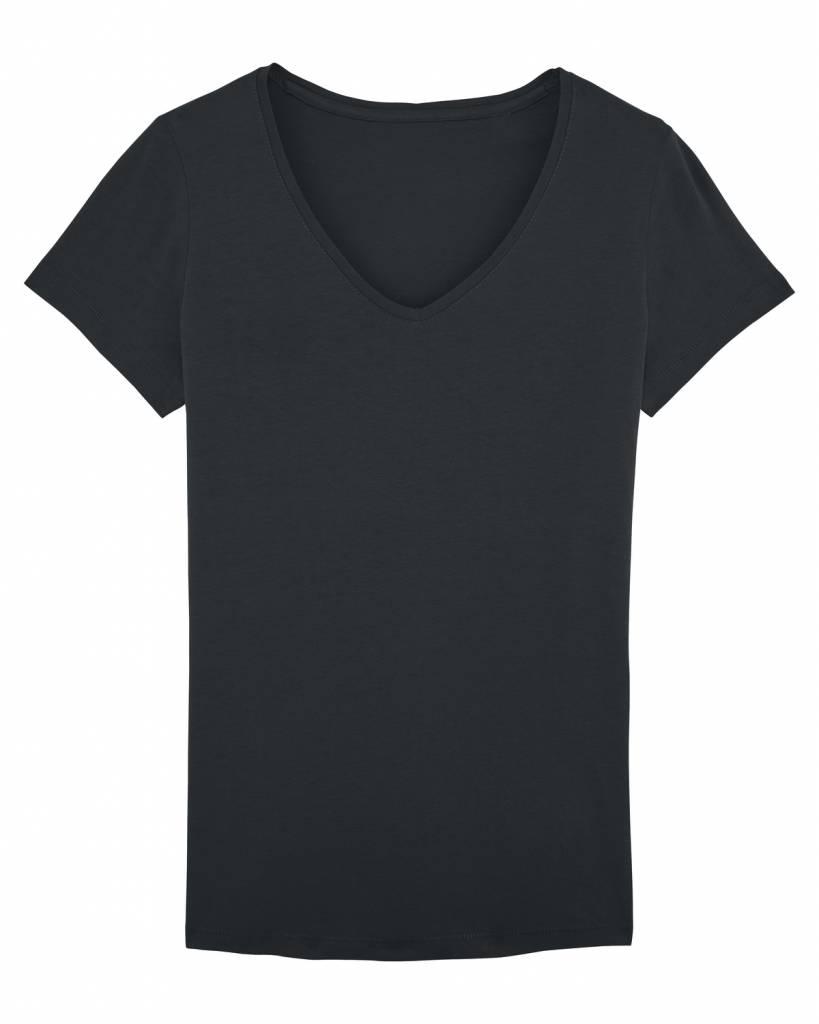 Basic T-shirt V-neck from organic cotton black-1