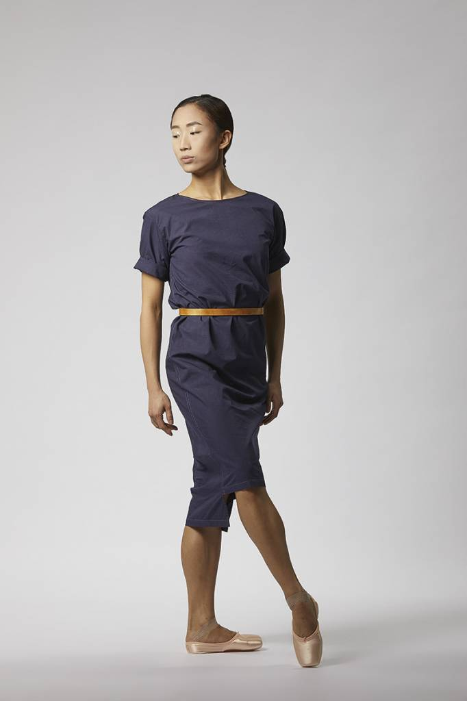 Classic dress with hem detail made from organic cotton - dark blue-1