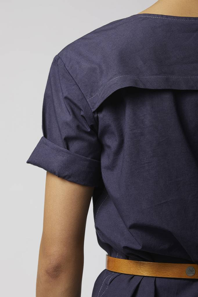 Classic dress with hem detail made from organic cotton - dark blue-4