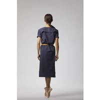 Classic dress with hem detail made from organic cotton - dark blue