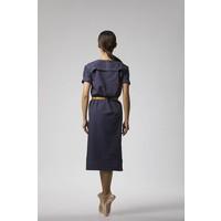 Klassisches Kleid mit Saumdetail aus Bio-Baumwolle - Dunkelblau