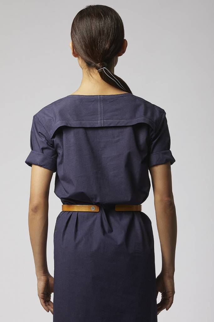 Classic dress with hem detail made from organic cotton - dark blue-3