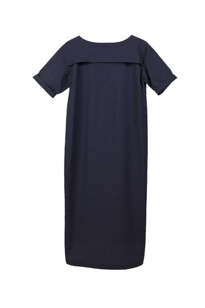 Classic dress with hem detail made from organic cotton - dark blue-7
