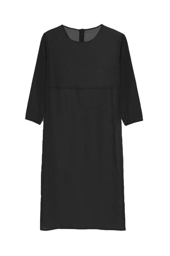 Organic cotton buttoned dress - Black-4