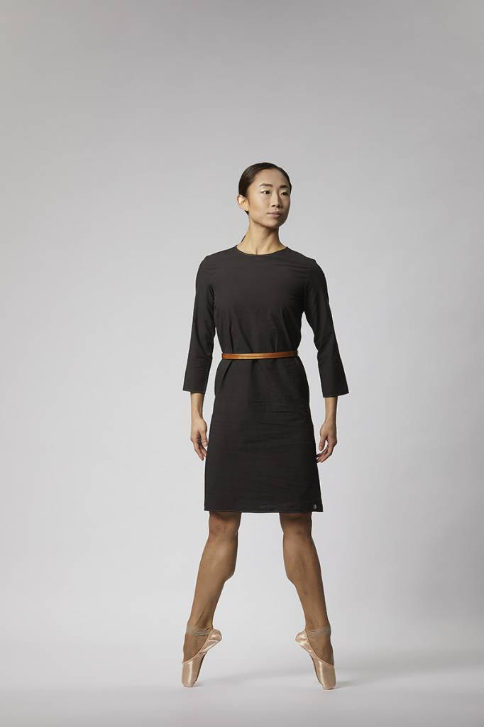 Organic cotton buttoned dress - Black-1