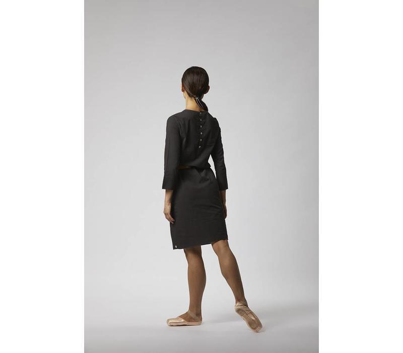 Organic cotton buttoned dress - Black