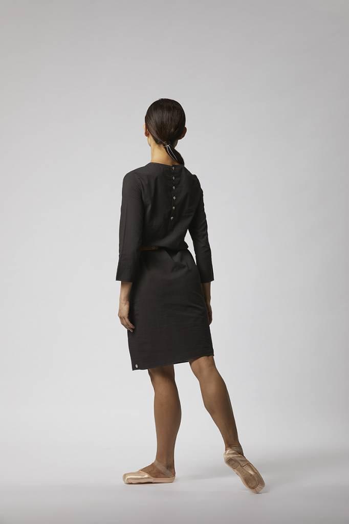 Organic cotton buttoned dress - Black-2