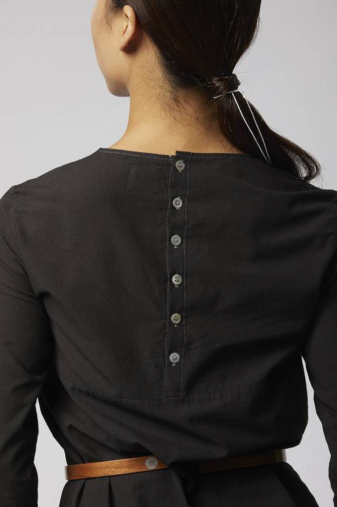 Organic cotton buttoned dress - Black-3