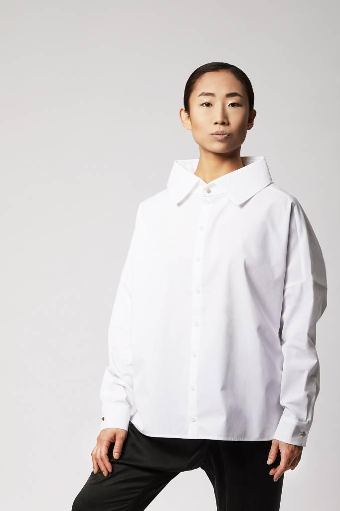 Statement Bluse aus Bio-Baumwolle - Weiß-2