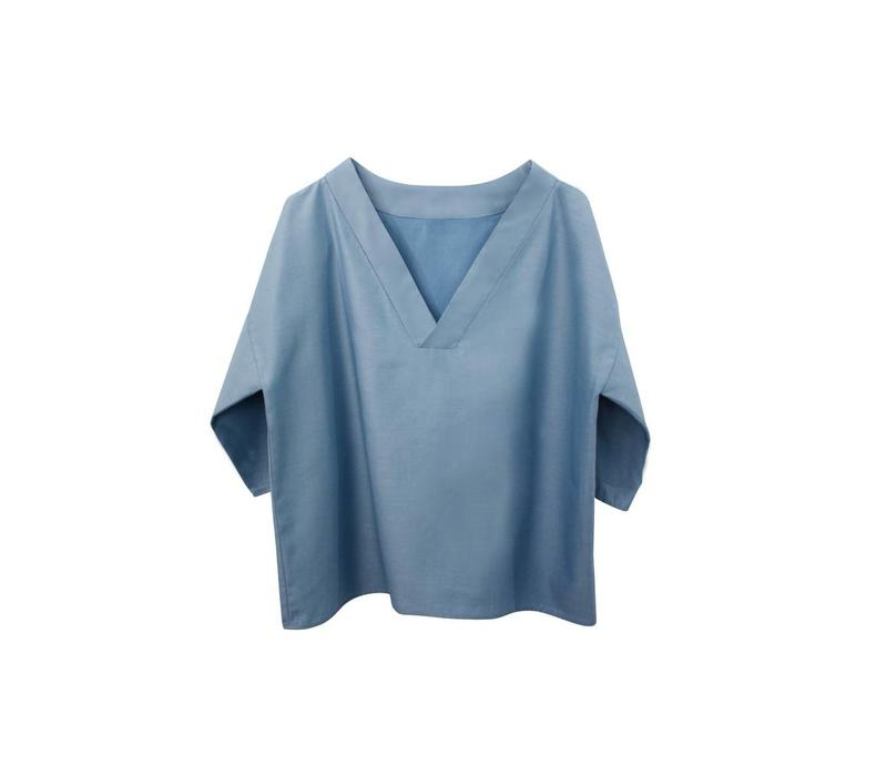 V-neck T-shirt from Tencel - light blue