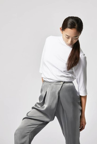 Silk pants with drapery - gray