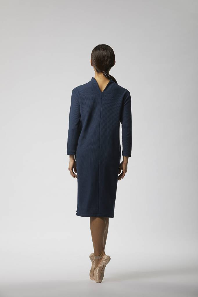 Ripp dress with back detail made of organic cotton - Navy-2