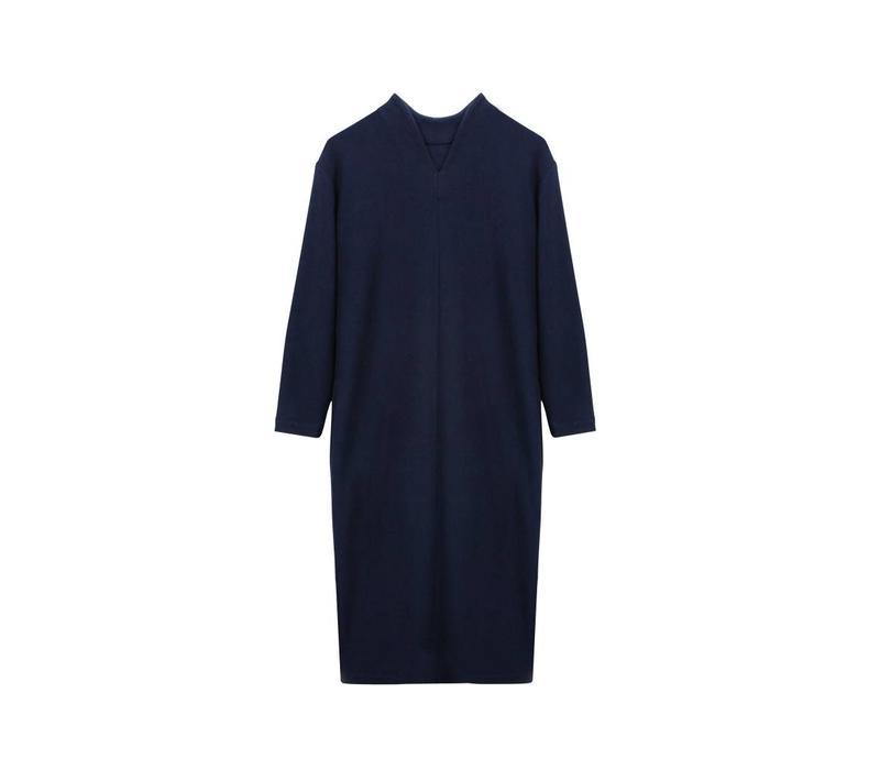 Ripp Kleid mit Rückendetail aus Bio-Baumwolle - Navy