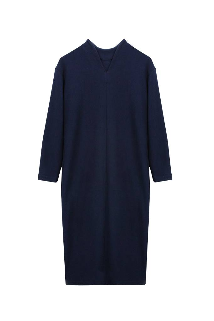 Ripp dress with back detail made of organic cotton - Navy-5
