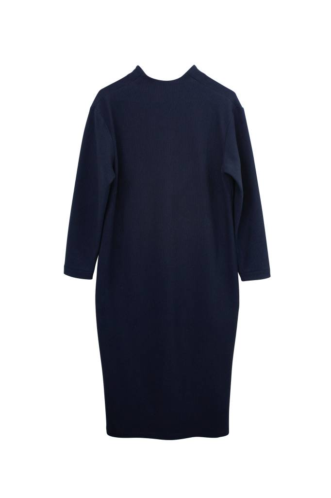 Ripp dress with back detail made of organic cotton - Navy-4