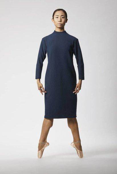 Ripp Kleid mit Rückendetail - Navy