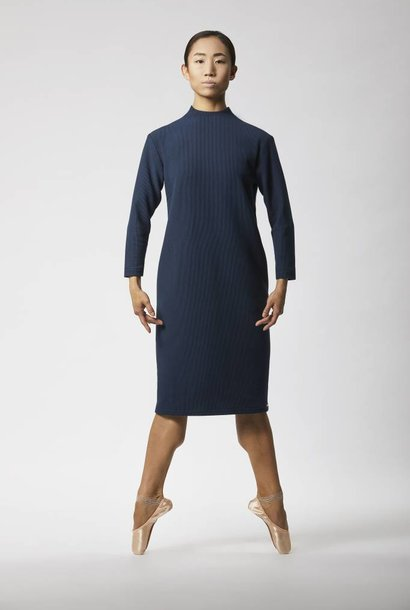 Ribbed dress with back detail - Navy