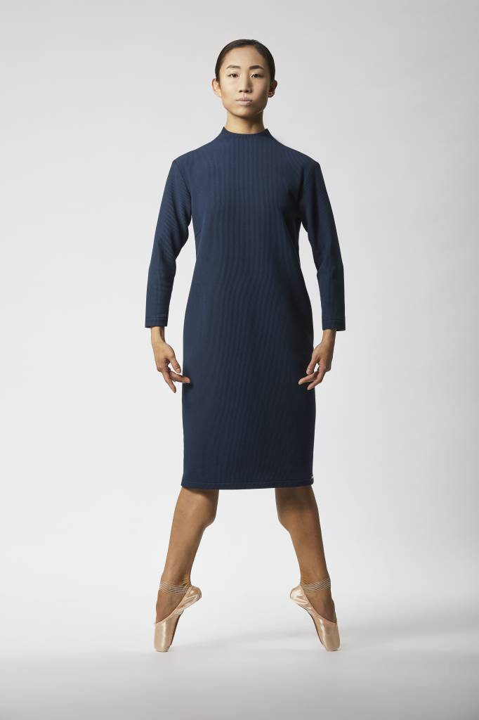 Ripp dress with back detail made of organic cotton - Navy-1