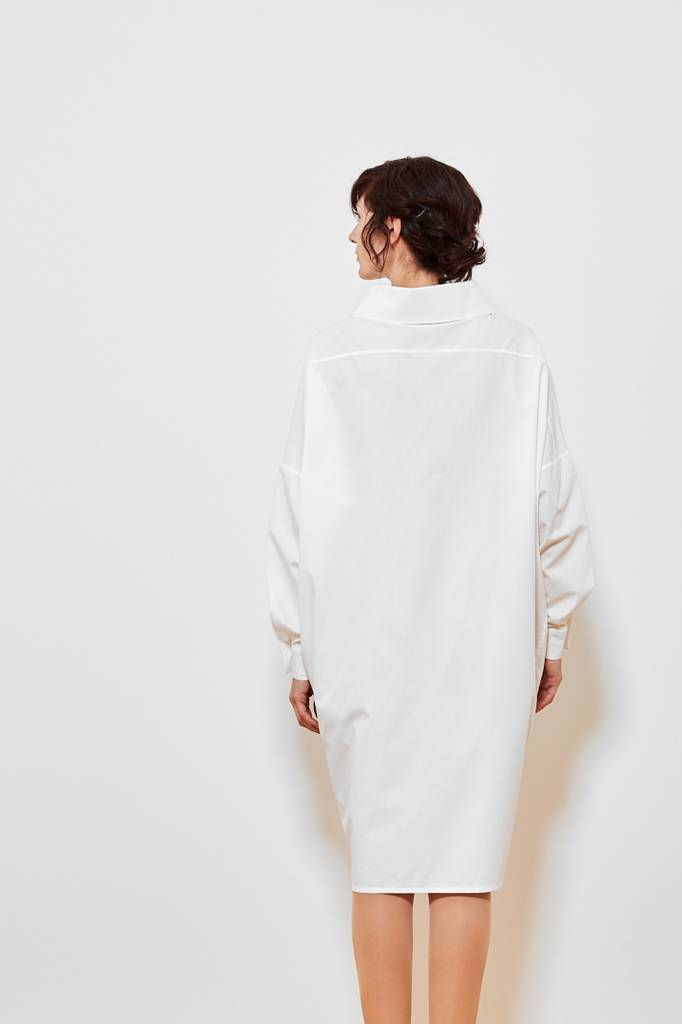 Statement dress in organic cotton - white-2
