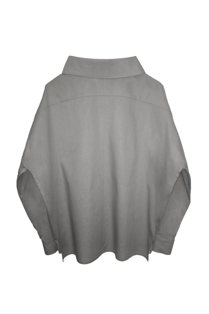 Statement blouse made of organic cotton - light gray-3