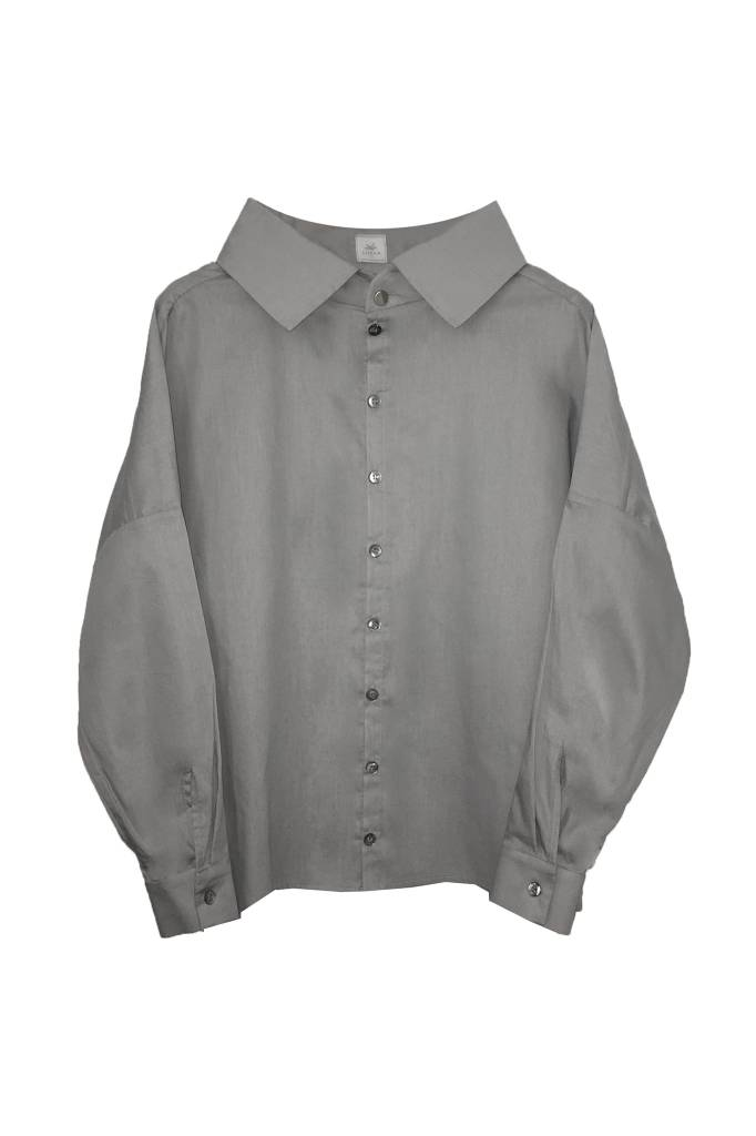 Statement blouse made of organic cotton - light gray-2