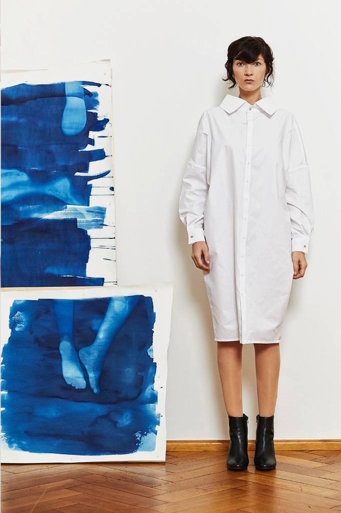 Statement dress made of organic cotton - light gray-5