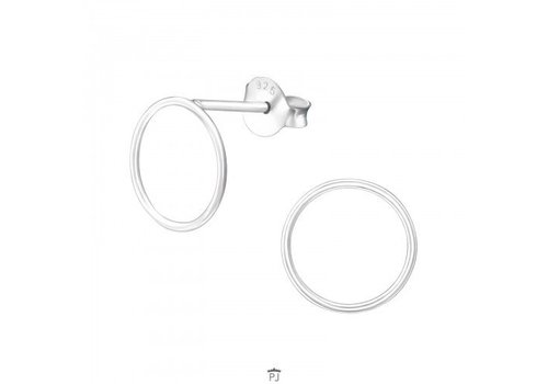 Fine Ear Studs Circle - 925 Sterling Silver