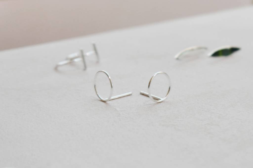 Fine Ear Studs Circle - 925 Sterling Silver-2