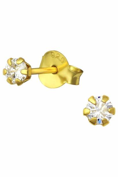 Goldener Ohrstecker mit weißem Stein - 925er Sterling Silber