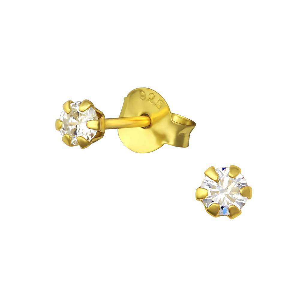 Golden stud earrings with stone - 925 sterling silver-1