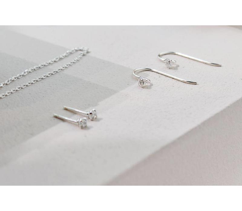 Zarter Bügel-Ohrring mit Stein - 925er Sterling Silber