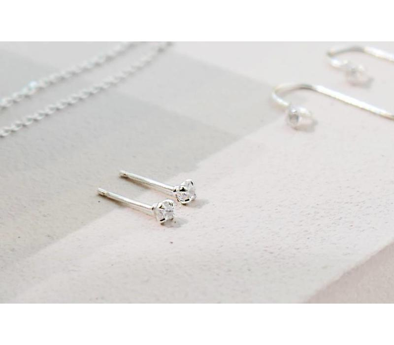 Golden stud earrings with stone - 925 sterling silver - Copy