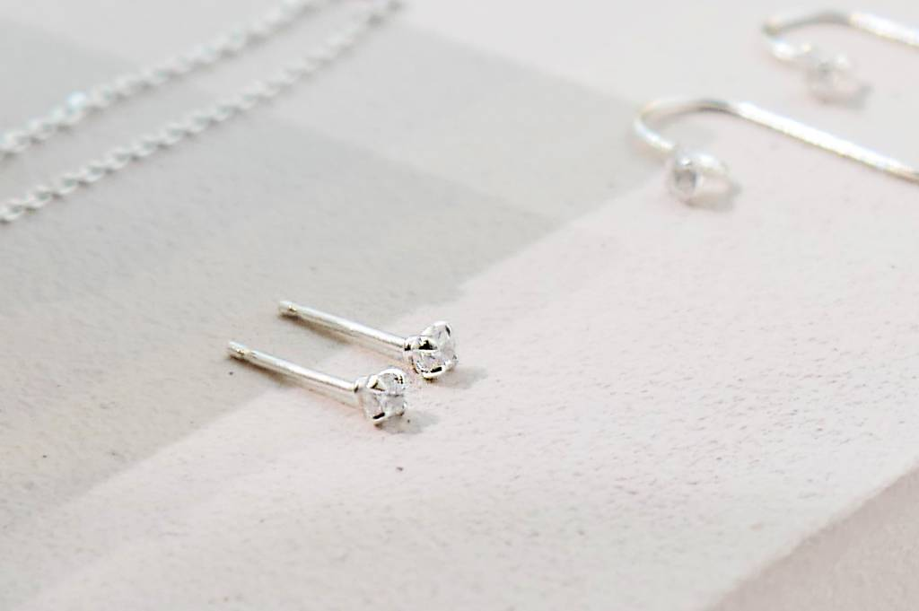 d71c4cabc Golden stud earrings with stone - 925 sterling silver - Copy - Luxaa