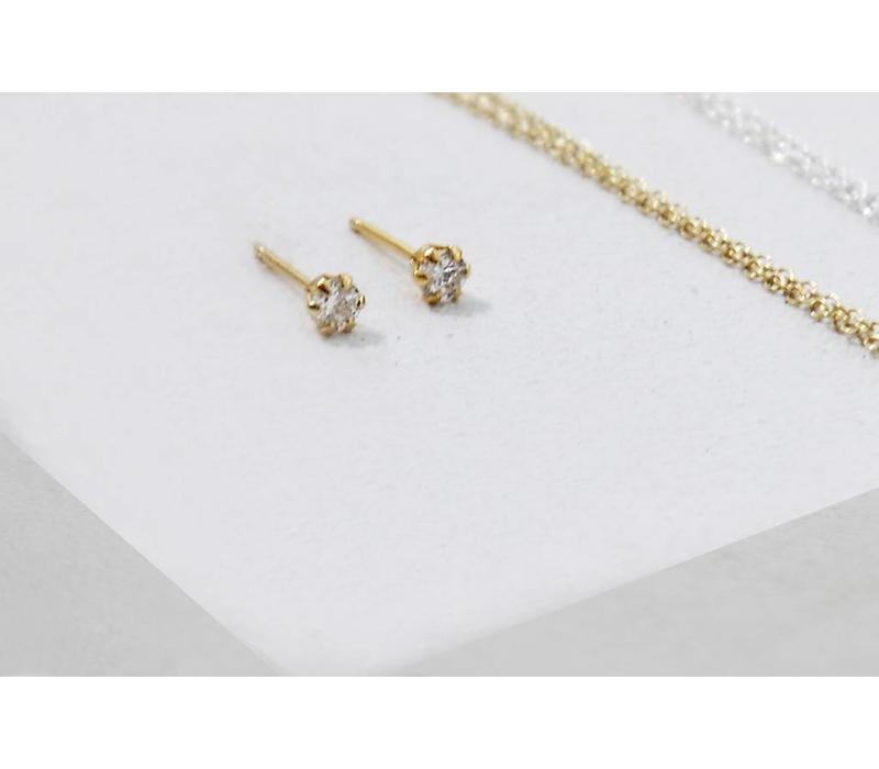 Golden stud earrings with stone - 925 sterling silver