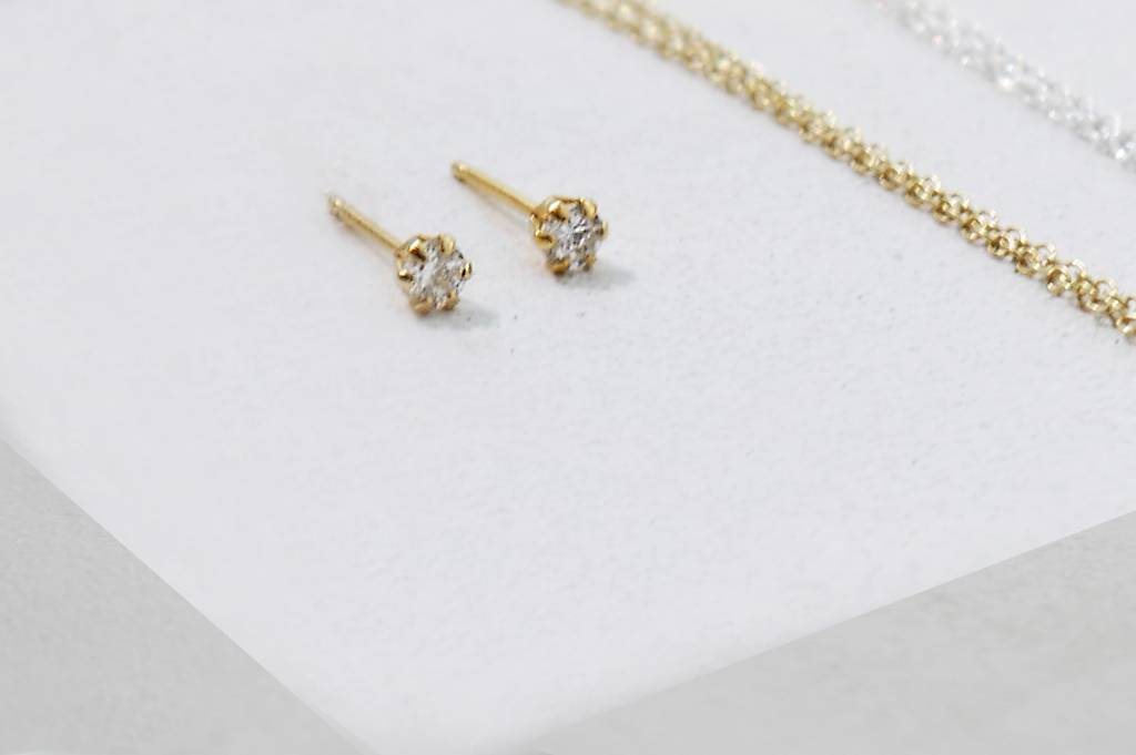 Golden stud earrings with stone - 925 sterling silver-8