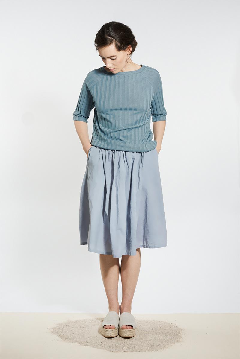 Shirt with back neckline - gray blue-1