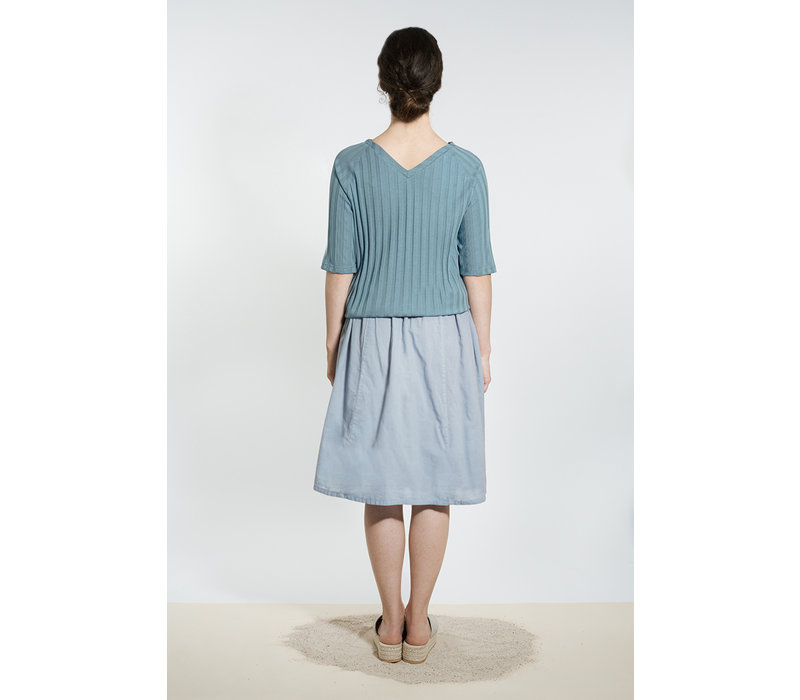 Shirt with back neckline - gray blue