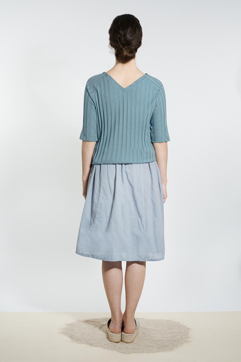Shirt with back neckline - gray blue-2