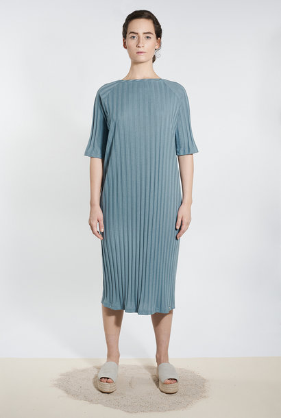 Jersey Dress with Boat Neck - Gray Blue
