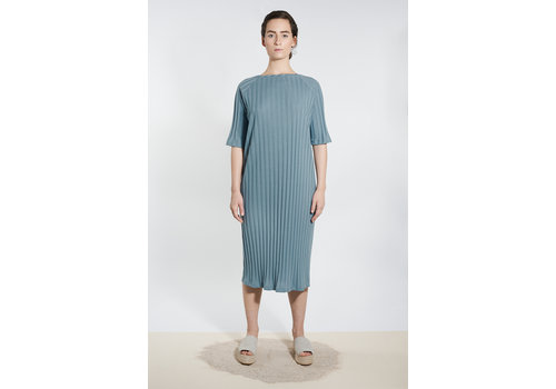 Jersey Kleid mit U-Boot-Ausschnitt - Graublau