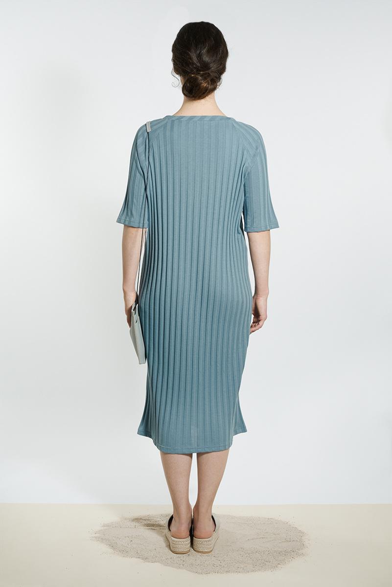 Jersey Kleid mit U-Boot-Ausschnitt - Graublau-2