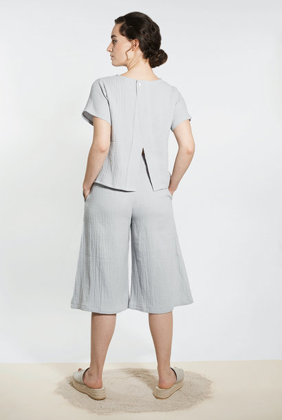 Muslin shirt with back detail - light gray