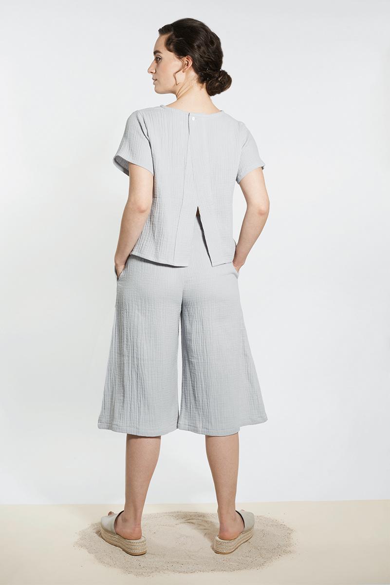 Musselin Shirt mit Rücken Detail - Hellgrau-1